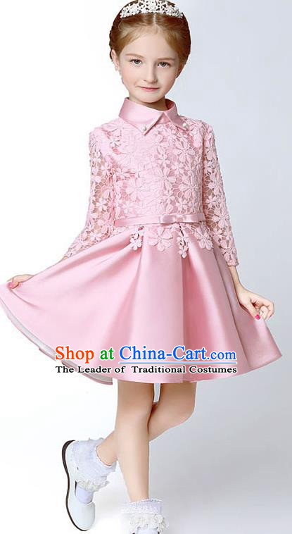 Children Model Show Dance Costume Pink Embroidery Full Dress, Ceremonial Occasions Catwalks Princess Bubble Dress for Girls
