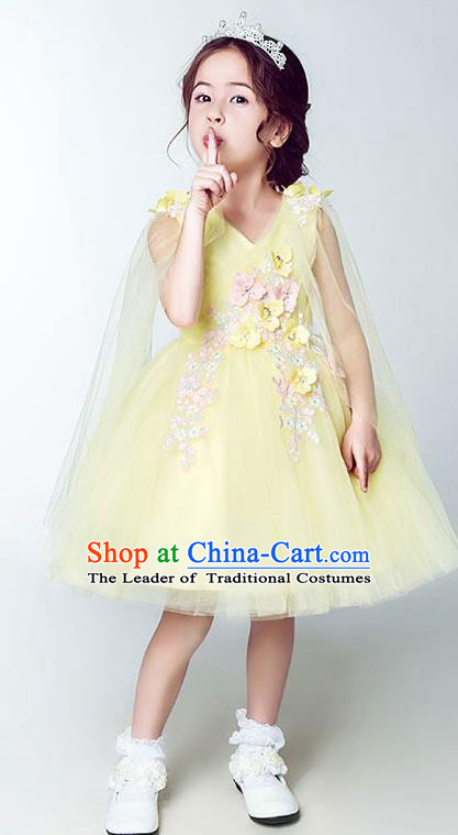 Children Model Show Dance Costume Yellow Short Full Dress, Ceremonial Occasions Catwalks Princess Embroidery Dress for Girls