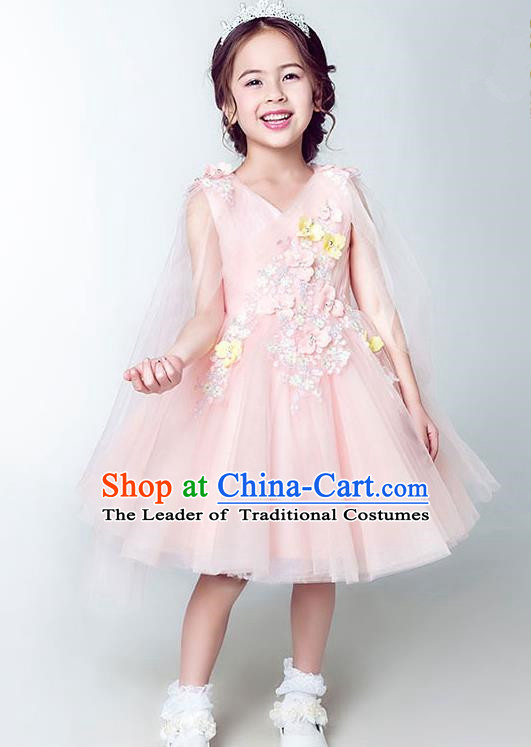 Children Model Show Dance Costume Pink Short Full Dress, Ceremonial Occasions Catwalks Princess Embroidery Dress for Girls