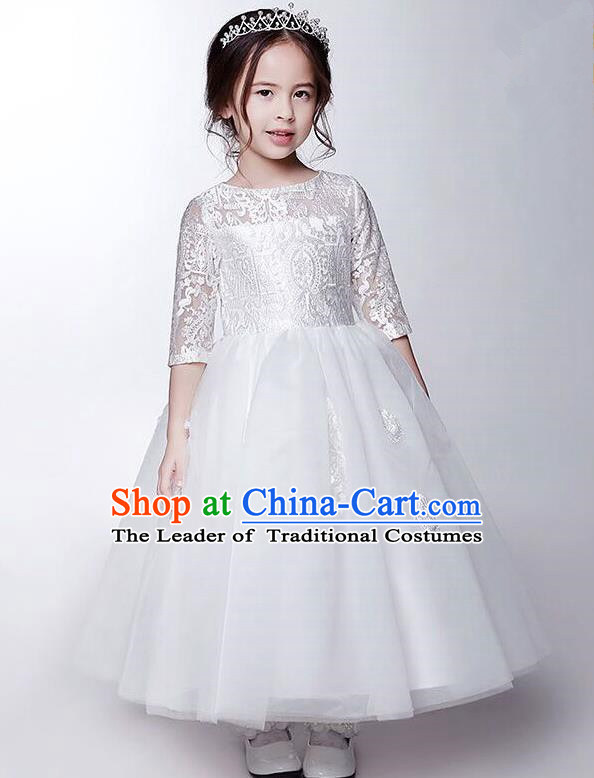 Children Model Show Dance Costume White Long Full Dress, Ceremonial Occasions Catwalks Princess Embroidery Dress for Girls