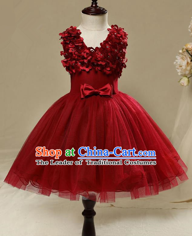 Children Model Show Dance Costume Red Short Full Dress, Ceremonial Occasions Catwalks Princess Embroidery Dress for Girls