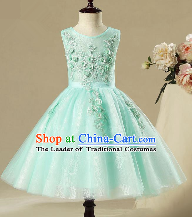 Children Model Show Dance Costume Green Short Full Dress, Ceremonial Occasions Catwalks Princess Embroidery Dress for Girls