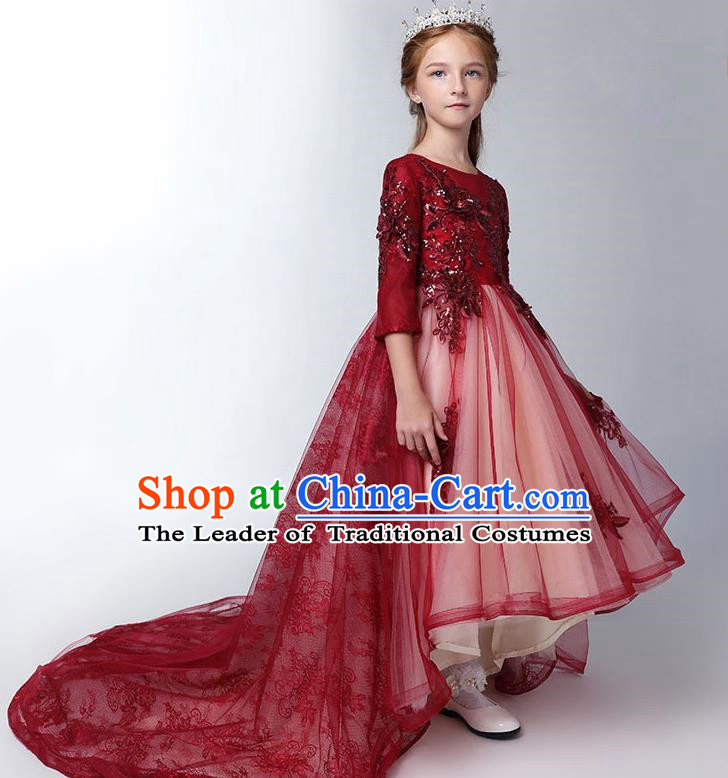 Children Model Show Dance Costume Red Lace Trailing Full Dress, Ceremonial Occasions Catwalks Princess Embroidery Dress for Girls