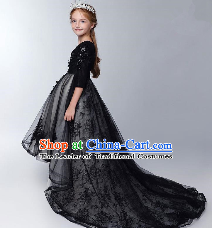 Children Model Show Dance Costume Black Lace Trailing Full Dress, Ceremonial Occasions Catwalks Princess Embroidery Dress for Girls