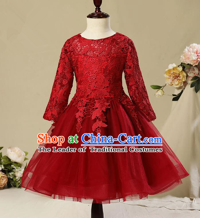 Children Model Show Dance Costume Red Veil Bubble Full Dress, Ceremonial Occasions Catwalks Princess Embroidery Dress for Girls