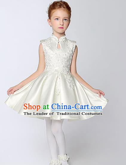 Children Model Show Dance Costume White Satin Cheongsam, Ceremonial Occasions Catwalks Princess Embroidery Dress for Girls