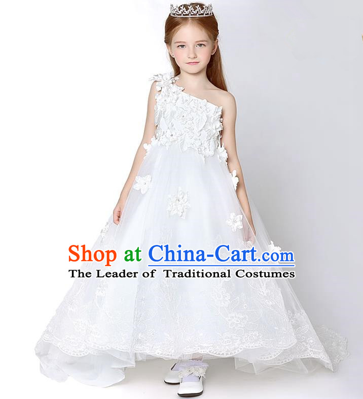 Children Model Show Dance Costume White One-shoulder Trailing Full Dress, Ceremonial Occasions Catwalks Princess Embroidery Dress for Girls