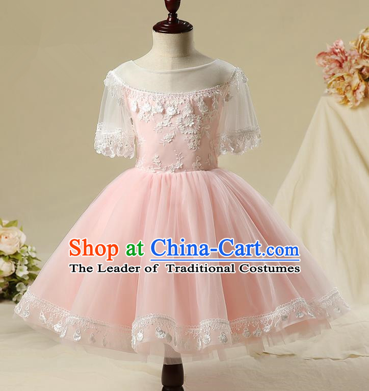 Children Model Show Dance Costume Pink Bubble Full Dress, Ceremonial Occasions Catwalks Princess Embroidery Dress for Girls