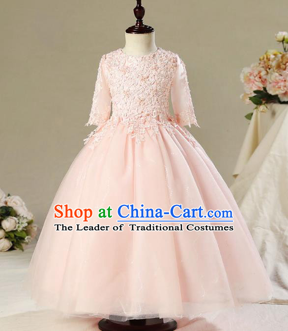 Children Model Dance Costume Compere Pink Lace Full Dress, Ceremonial Occasions Catwalks Princess Embroidery Dress for Girls