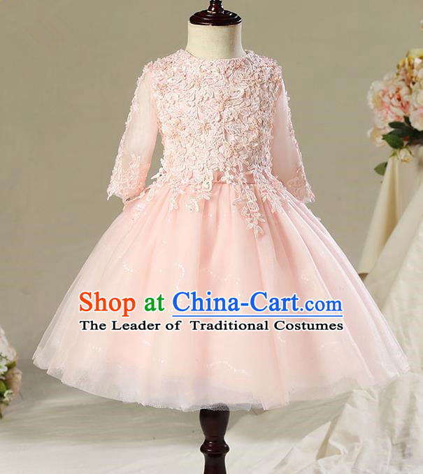 Children Model Dance Costume Compere Pink Lace Short Full Dress, Ceremonial Occasions Catwalks Princess Embroidery Dress for Girls