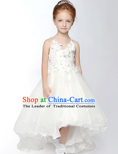 Children Model Dance Costume Compere White Veil Full Dress, Ceremonial Occasions Catwalks Princess Embroidery Dress for Girls