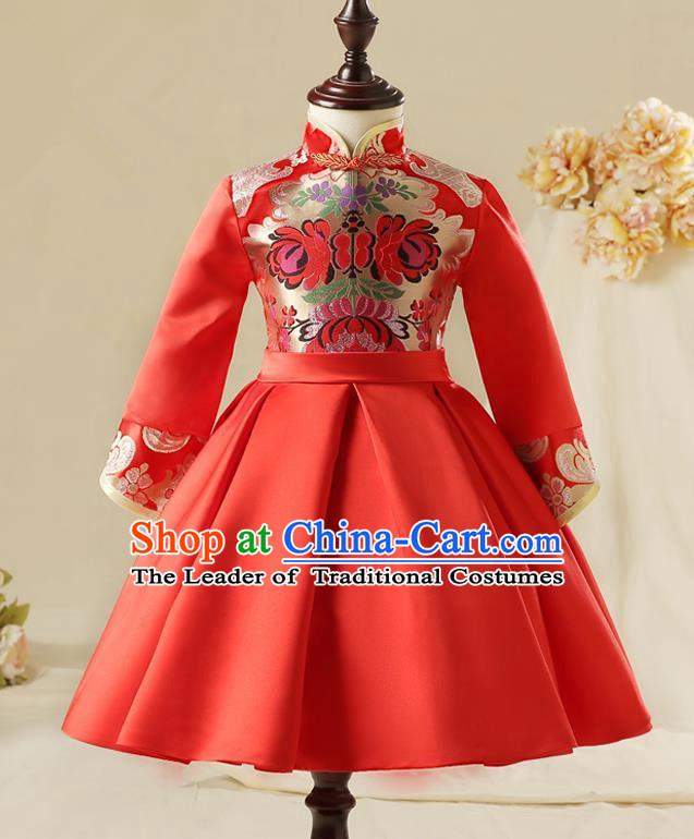 Children Model Dance Costume Compere China Red Cheongsam, Ceremonial Occasions Catwalks Princess Embroidery Dress for Girls
