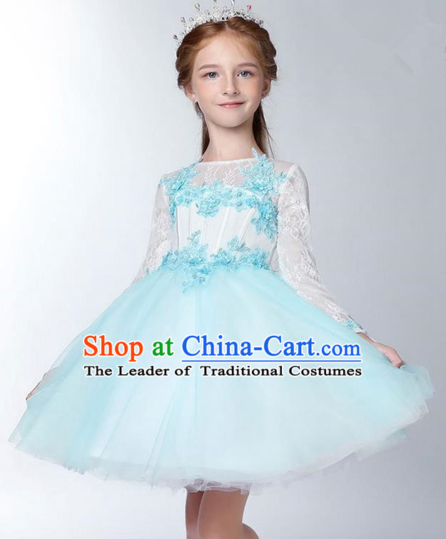 Children Model Dance Costume Compere Blue Long Sleeve Full Dress, Ceremonial Occasions Catwalks Princess Embroidery Dress for Girls