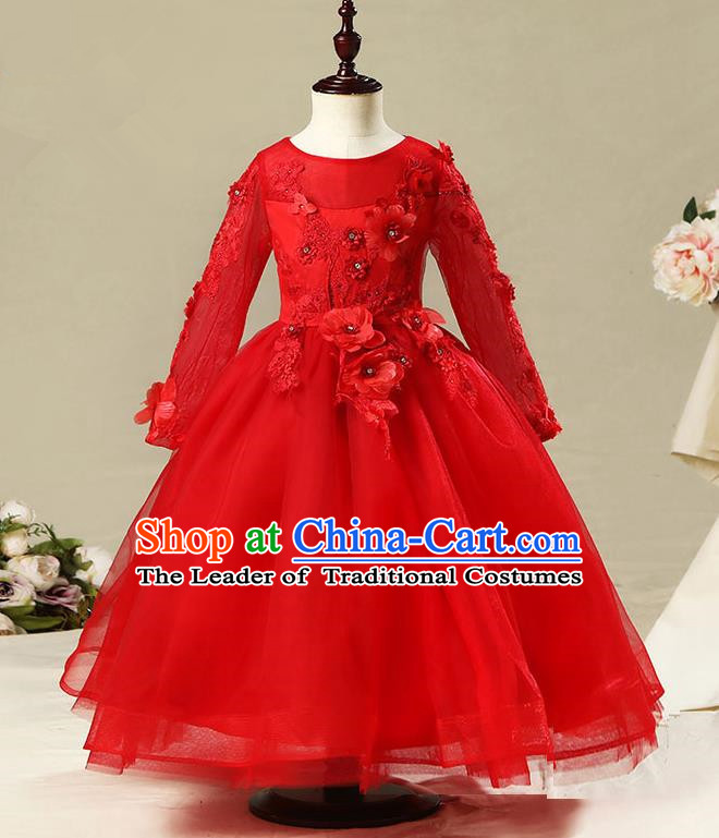 Children Model Dance Costume Compere Red Long Sleeve Full Dress, Ceremonial Occasions Catwalks Princess Embroidery Dress for Girls