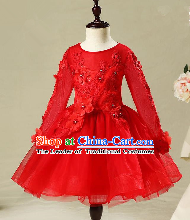Children Model Dance Costume Compere Red Long Sleeve Bubble Full Dress, Ceremonial Occasions Catwalks Princess Embroidery Dress for Girls