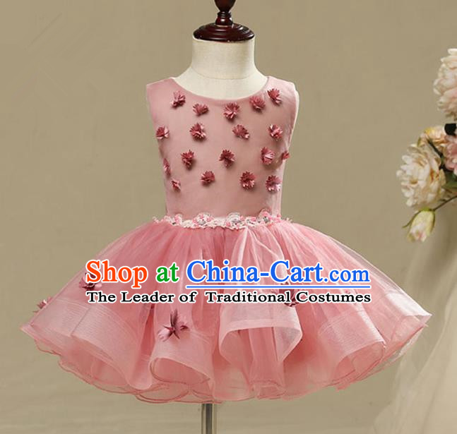 Children Model Dance Costume Compere Pink Bubble Full Dress, Ceremonial Occasions Catwalks Princess Embroidery Dress for Girls