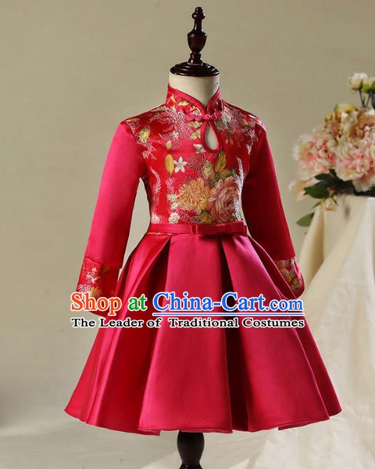 Children Model Dance Costume Compere China Wine Red Satin Cheongsam, Ceremonial Occasions Catwalks Princess Embroidery Dress for Girls
