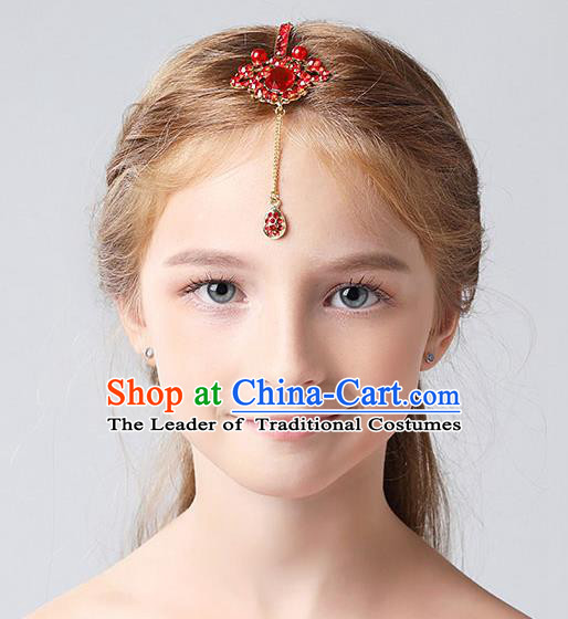 Handmade Children Hair Accessories Red Crystal Hair Clasp, Princess Halloween Model Show Headwear for Kids