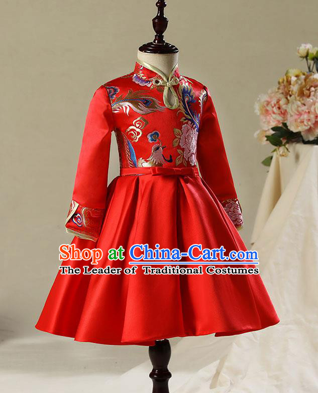 Children Model Dance Costume Compere China Red Satin Cheongsam, Ceremonial Occasions Catwalks Princess Embroidery Dress for Girls