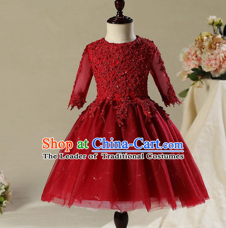 Children Modern Dance Costume Compere Wine Red Veil Embroidery Short Evening Dress Princess Dress for Girls