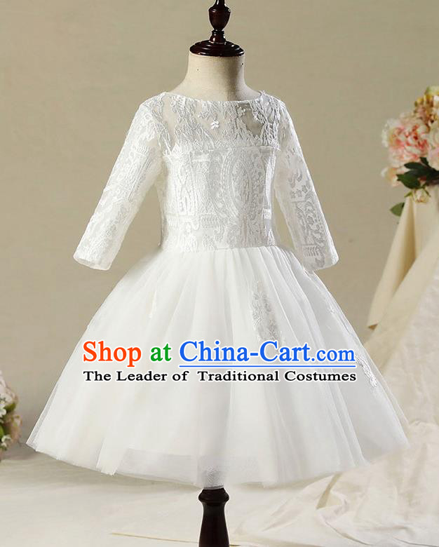 Children Modern Dance Costume Compere White Veil Embroidery Short Evening Dress Princess Dress for Girls