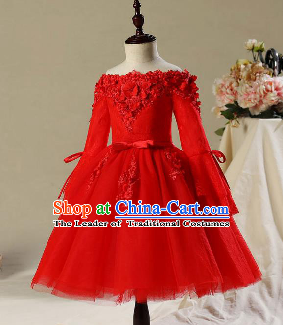 Children Modern Dance Costume Compere Red Veil Embroidery Short Evening Dress Princess Dress for Girls