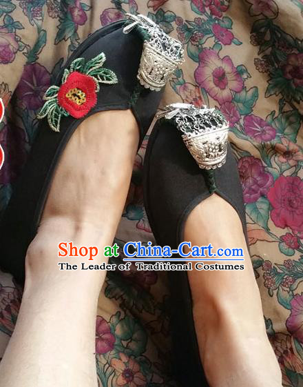 Asian Chinese Shoes Wedding Shoes Black Cloth Shoes, Traditional China Opera Shoes Hanfu Shoes Embroidered Princess Shoes