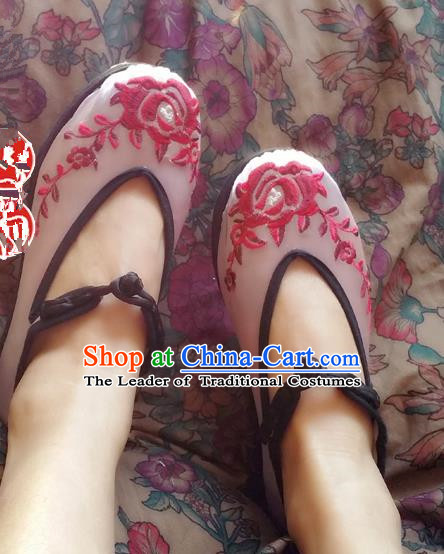 Asian Chinese Shoes Wedding Shoes Pink Satin Shoes, Traditional China Opera Shoes Hanfu Shoes Embroidered Princess Shoes