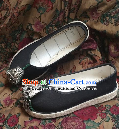 Asian Chinese Shoes Wedding Shoes Black Multi-layered Cloth Shoes, Traditional China Opera Shoes Hanfu Shoes Embroidered Princess Shoes