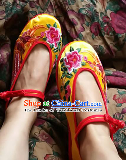 Asian Chinese Shoes Wedding Shoes Yellow Satin Shoes, Traditional China Opera Shoes Hanfu Shoes Embroidered Phoenix Peony Shoes
