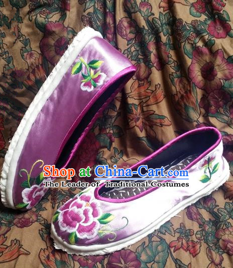 Asian Chinese Shoes Wedding Shoes Embroidered Purple Shoes, Traditional China Opera Shoes Hanfu Shoes Embroidered Shoes