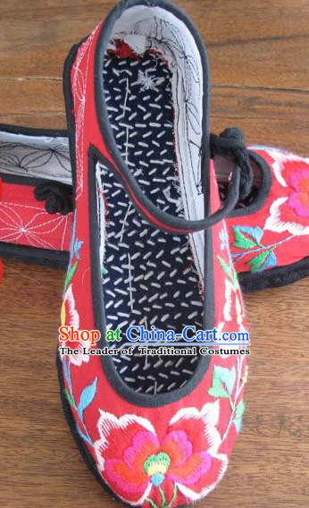 Asian Chinese Shoes Wedding Shoes Embroidered Red Shoes, Traditional China Princess Shoes Hanfu Shoes Embroidered Shoes