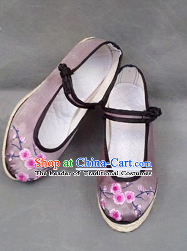 Asian Chinese Shoes Wedding Shoes Embroidered Lilac Shoes, Traditional China Princess Shoes Hanfu Shoes Embroidered Shoes