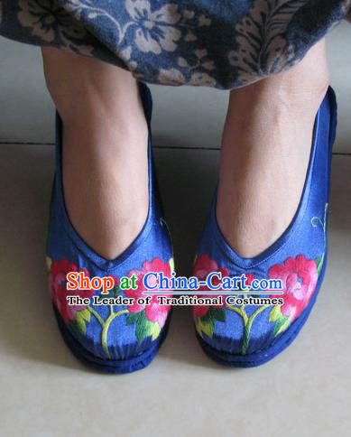 Asian Chinese Shoes Wedding Shoes Hand Embroidered Blue Shoes, Traditional China Princess Shoes Hanfu Shoes Embroidered Shoes