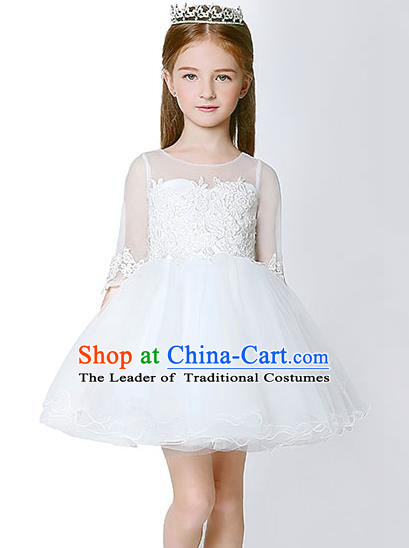 Children Model Dance Costume Compere White Veil Bubble Evening Dress, Ceremonial Occasions Catwalks Princess Embroidery Dress for Girls