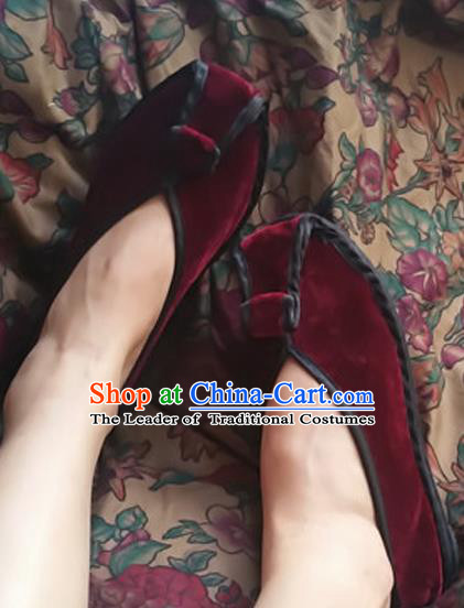 Asian Chinese National Wine Red Velvet Embroidered Shoes, Traditional China Handmade Shoes Hanfu Embroidery Shoes for Women