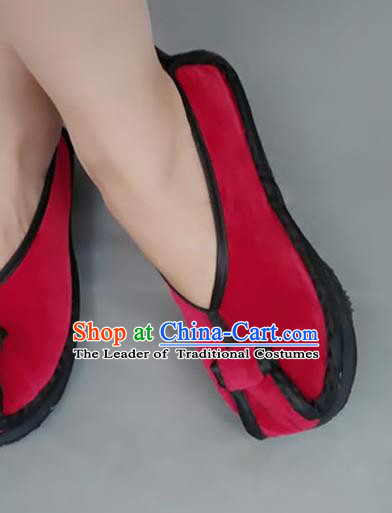 Asian Chinese National Red Velvet Embroidered Shoes, Traditional China Handmade Shoes Hanfu Embroidery Shoes for Women