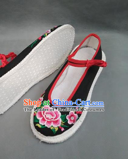 Traditional Chinese National Black Cloth Shoes Embroidered Shoes, China Handmade Shoes Hanfu Embroidery Peony Shoes for Women