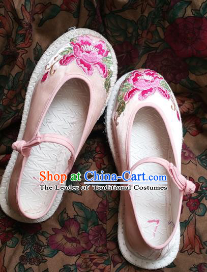 Traditional Chinese National Pink Satin Shoes Embroidered Shoes, China Handmade Shoes Hanfu Embroidery Peony Shoes for Women