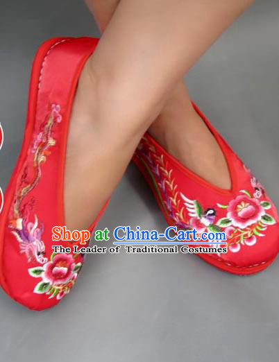 Traditional Chinese National Red Shoes Embroidered Shoes, China Handmade Shoes Hanfu Embroidery Dragon and Phoenix Shoes for Women