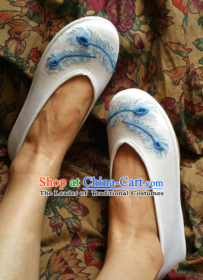 Asian Chinese National Embroidery White Shoes Handmade Embroidered Shoes, Traditional China Princess Shoes Hanfu Shoe for Women