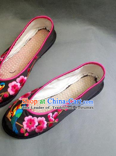Traditional Chinese National Black Silk Shoes Embroidered Shoes, China Handmade Shoes Hanfu Embroidery Wintersweet Shoes for Women