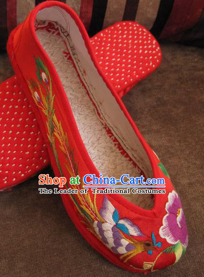 Traditional Chinese National Red Wedding Shoes Embroidered Shoes, China Handmade Shoes Hanfu Embroidery Dragon and Phoenix Shoes for Women