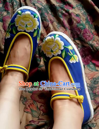 Traditional Chinese National Blue Cloth Shoes Embroidered Shoes, China Handmade Shoes Hanfu Embroidery Peony Shoes for Women