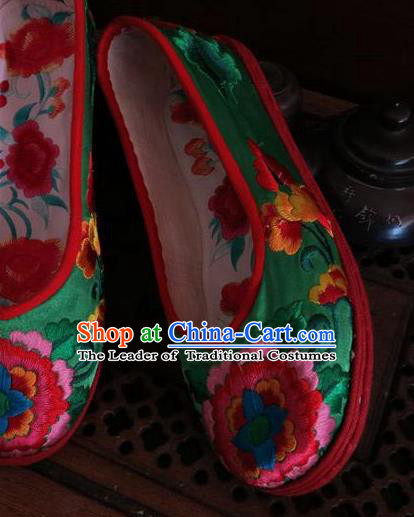 Traditional Chinese National Green Satin Shoes Embroidered Shoes, China Handmade Shoes Hanfu Embroidery Peony Shoes for Women