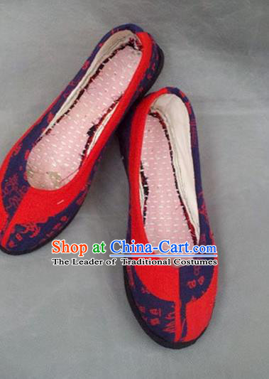 Traditional Chinese National Wedding Red Cloth Shoes Embroidered Shoes, China Handmade Shoes Hanfu Embroidery Shoes for Women