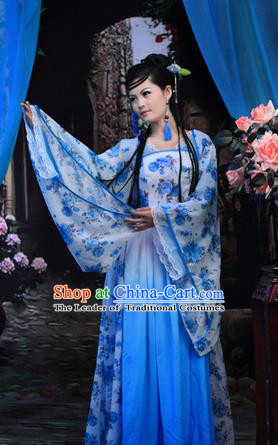 Asian China Ancient Tang Dynasty Palace Lady Costume, Traditional Chinese Hanfu Imperial Consort Embroidered Blue Dress Clothing for Women