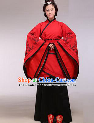 Asian China Ancient Han Dynasty Palace Lady Costume, Traditional Chinese Hanfu Imperial Consort Embroidered Red Curve Bottom Clothing for Women