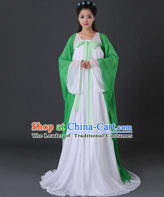 Asian China Ancient Tang Dynasty Palace Lady Costume, Traditional Chinese Princess Hanfu Embroidered Green Dress Clothing for Women