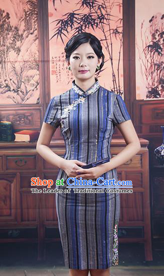Traditional Ancient Chinese Republic of China Gentlewoman Cheongsam, Asian Chinese Chirpaur Silk Qipao Dress Clothing for Women